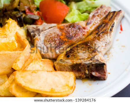 juice roasted lamb chops on the table