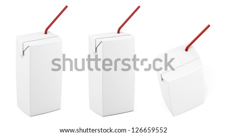 Juice white packing with straw