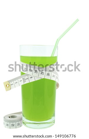 juice with kiwi and meter - stock photo