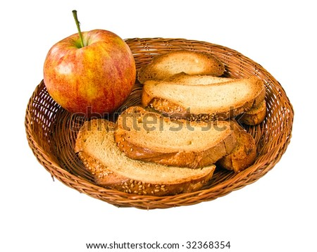 Juicy apple and chunky toasts to morning meal - stock photo