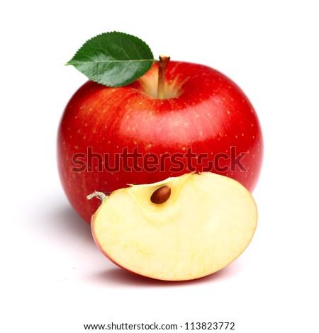 Juicy apple with slice - stock photo
