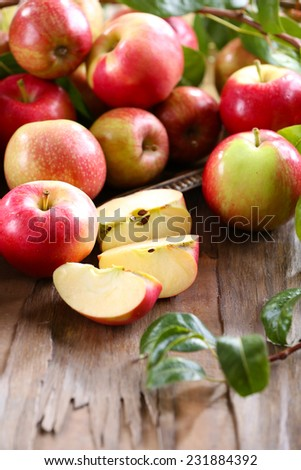 Juicy apples, close-up - stock photo