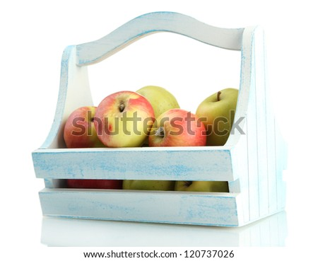 juicy apples in wooden basket, isolated on white - stock photo