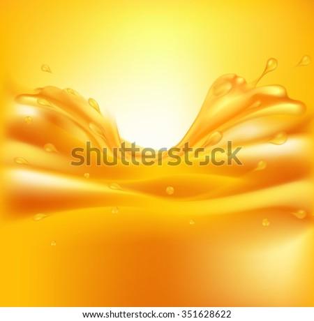 juicy background with splashes of orange juice - stock photo