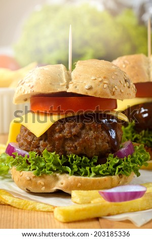 Juicy beef burger with cheese and French fries - stock photo