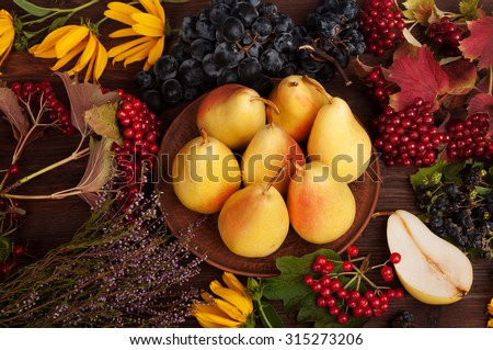 Juicy bright pears in a clay plate on a dark background; autumn grass and fruits; autumn still life; of the substrate; menus for restaurants; seasonal menu; grapes; viburnum; Mexican motifs - stock photo