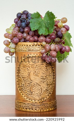 juicy bunch of grapes on a white background - stock photo