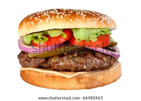 juicy burger - stock photo