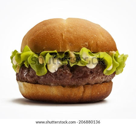 Juicy burger with lettuce isolated on white background - stock photo