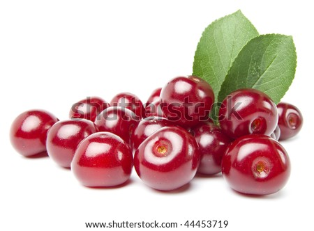 Juicy cherries isolated on white background - stock photo