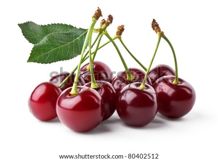 Juicy cherries with leaf isolated on white background - stock photo