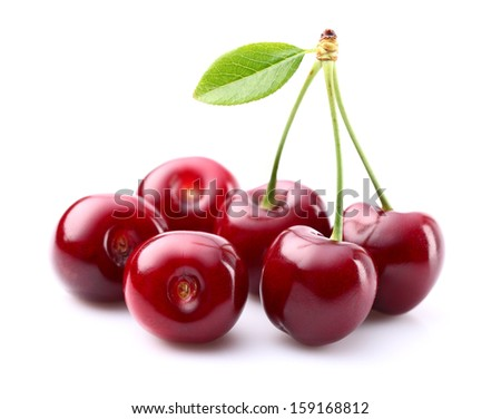 Juicy cherry with leaf - stock photo