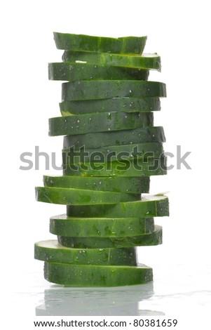 juicy cucumber on white background - stock photo