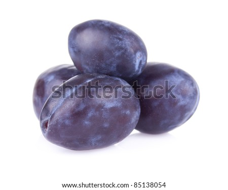 juicy delicious plums with bone - stock photo