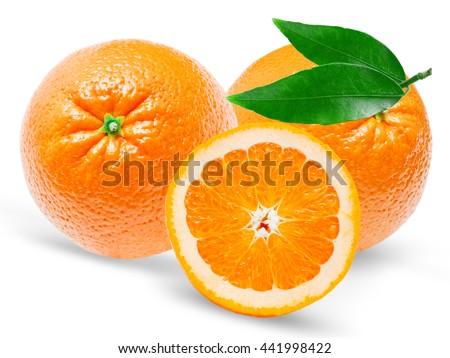 Juicy dessert Orange isolated on white background - stock photo