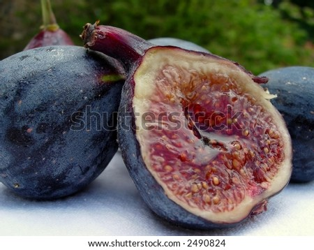 Juicy figs outdoors - stock photo