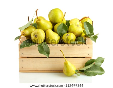 Juicy flavorful pears in box isolated on white - stock photo