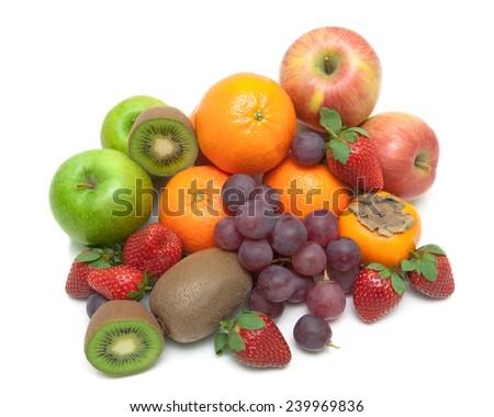 juicy fresh fruits isolated on white background. horizontal photo. - stock photo