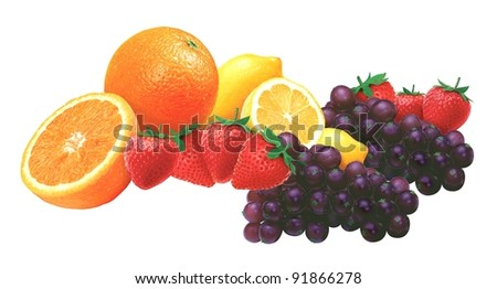 juicy fresh fruits with white background - stock photo