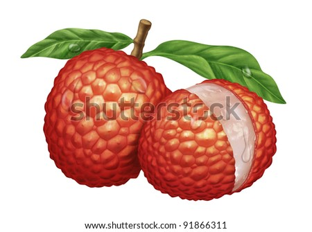 juicy fresh water drops of lychee with white background - stock photo