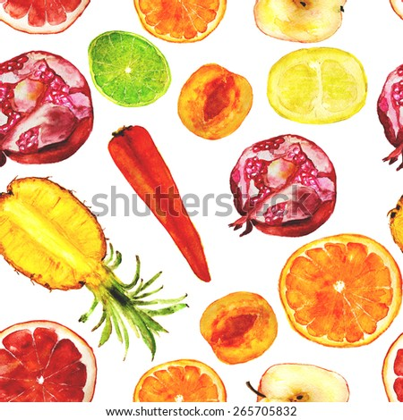 juicy fruit mix: pomegranate, pineapple, apricot, carrot, apple, lime, grapefruit, orange. Square for seamless pattern. Hand-painted watercolor - stock photo