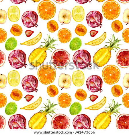 juicy fruit pattern: pineapple, pomegranate, banana, strawberry, orange, apricot, lime, grapefruit, apple. Hand-drawn watercolor - stock photo