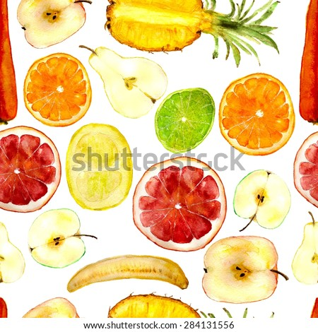 juicy fruits: pineapple, orange, grapefruit, apple, pear, lime, banana, carrot, pomelo. Square for seamless pattern. Hand-drawn watercolor - stock photo