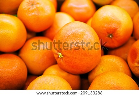 Juicy grapefruits in a big marketplace - stock photo