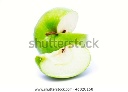 juicy green apple isolated over white