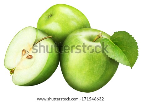 juicy green apple with leaf on white background - stock photo