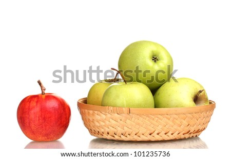 juicy green apples in the basket and red apple isolated on white - stock photo