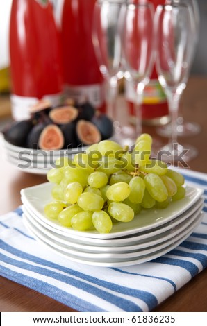 Juicy Green Grapes on Platter
