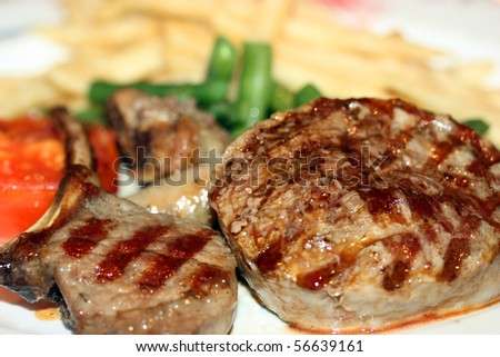 Juicy grilled meat at the restaurant