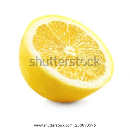 Juicy half of lemon isolated on white - stock photo