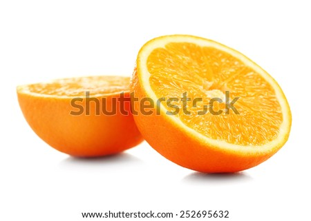Juicy halves of orange isolated on white - stock photo