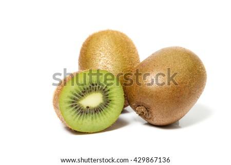 juicy kiwi fruit and sliced segments isolated on white background - stock photo