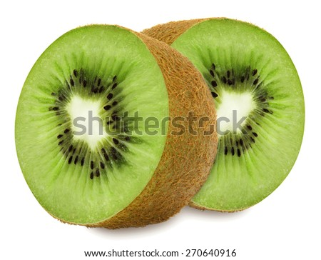 Juicy kiwi sliced to two sections isolated on white background - stock photo