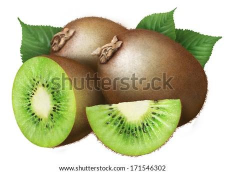 juicy kiwi with leaves on white background - stock photo