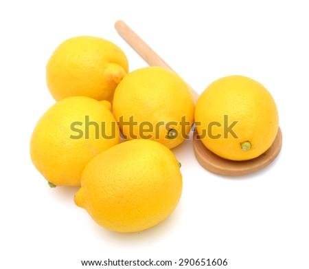 juicy lemon on white background  - stock photo