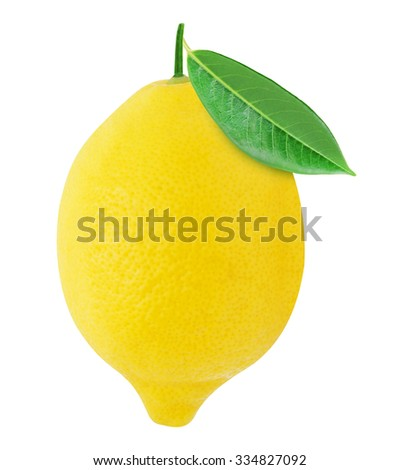 Juicy lemon with green leaf isolated on a white background. Design element for product label, catalog print, web use. - stock photo