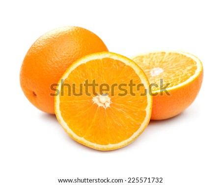 Juicy orange close-up, macro, isolated on white background - stock photo