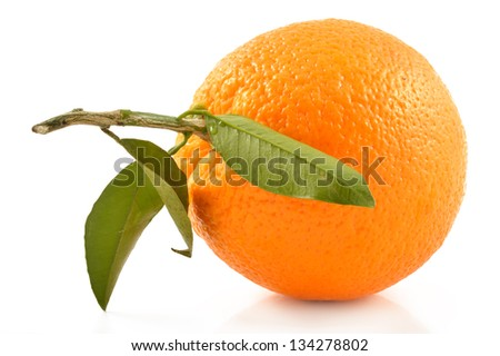 Juicy orange on a white background, close-up - stock photo