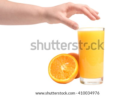 Juicy orange. Sliced orange and a glass of orange juice with human hand pointing to it taken on white background