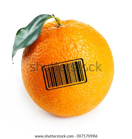 Juicy orange with barcode isolated on white - stock photo