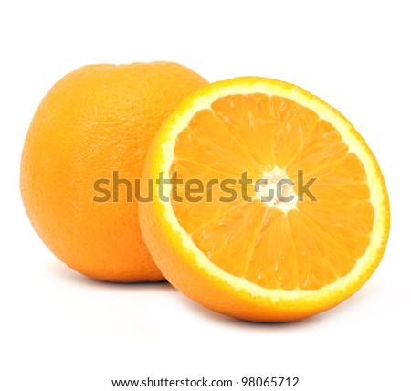 Juicy Oranges Isolated on White Background - stock photo