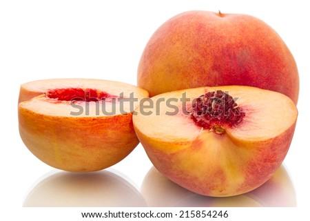 Juicy peaches on white isolated on white background - stock photo