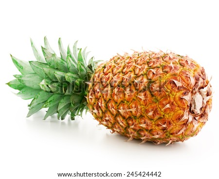 Juicy pineapple. Isolated on white background  - stock photo