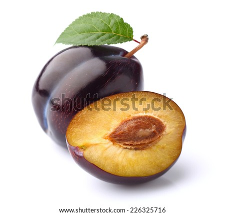 Juicy plum with slice