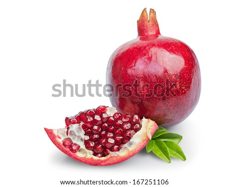 Juicy pomegranate fruit with leaves isolated on a white background