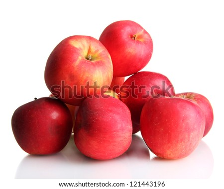juicy red apples, isolated on white - stock photo